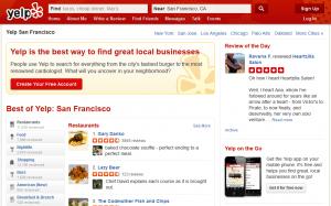 Yelp.com, a good example of a web 2.0 website