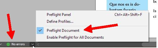 Using preflight in Adobe InDesign