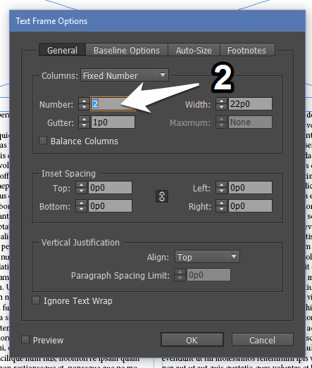 Setting Up 2 Columns for Text Frame in InDesign